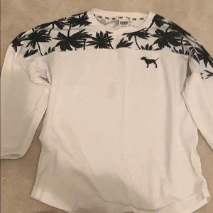 White Long Sleeve VS Pink Sweatshirt Palm Trees